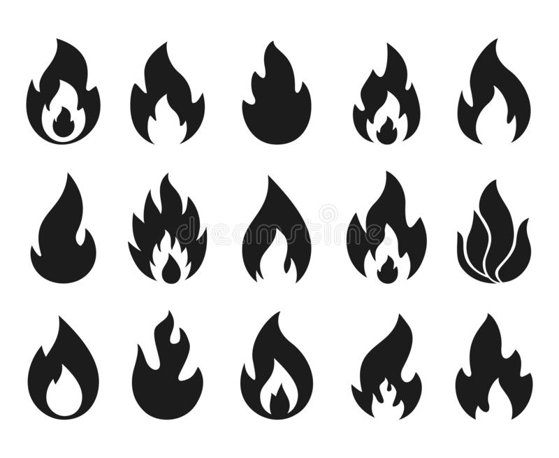 Fire flame icons. Simple burning campfire silhouette symbols, hot chile sauce, bonfire shape. Set of fire and flame stock illustration