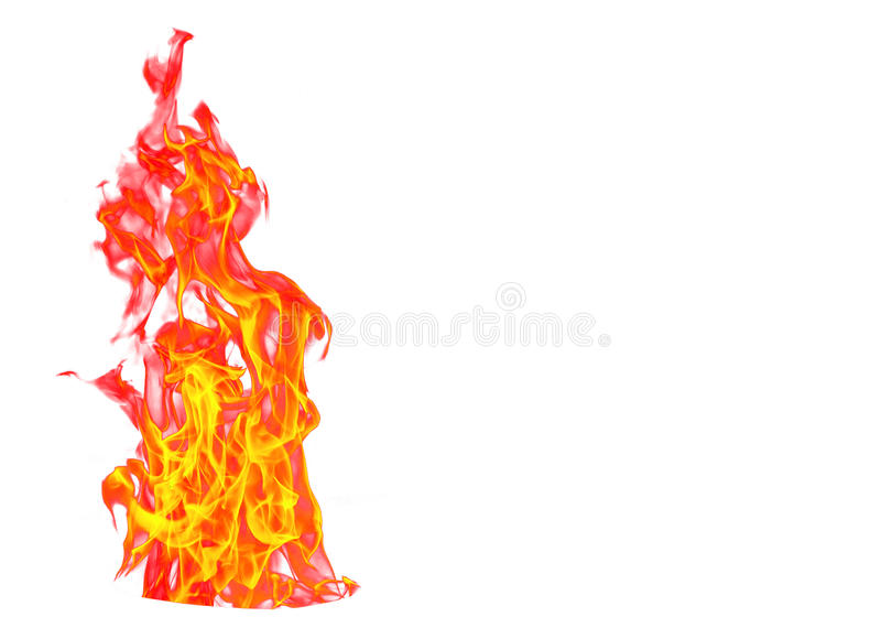 Fire flame isolated on white isolated background - Beautiful yellow, orange and red and red blaze fire flame texture style. royalty free stock photos