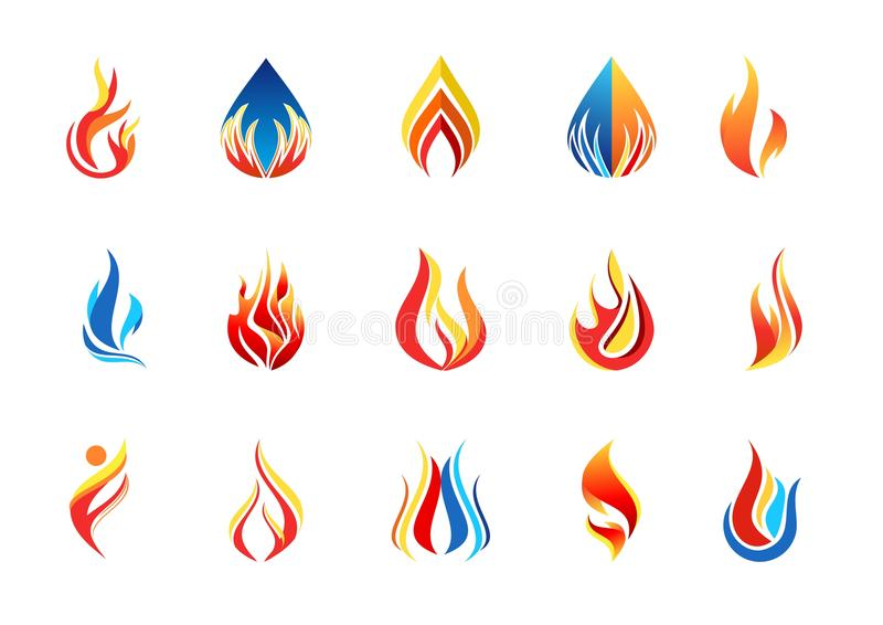 Fire flame logo, modern flames collection logotype symbol icon design vector. Fire flame logo and set of modern flames collection logotype symbol icon design stock illustration