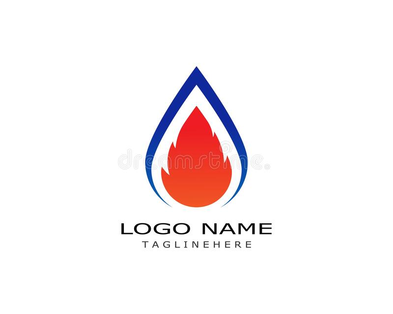 Fire flame Logo Template. Vector icon Oil, gas and energy logo concept stock illustration