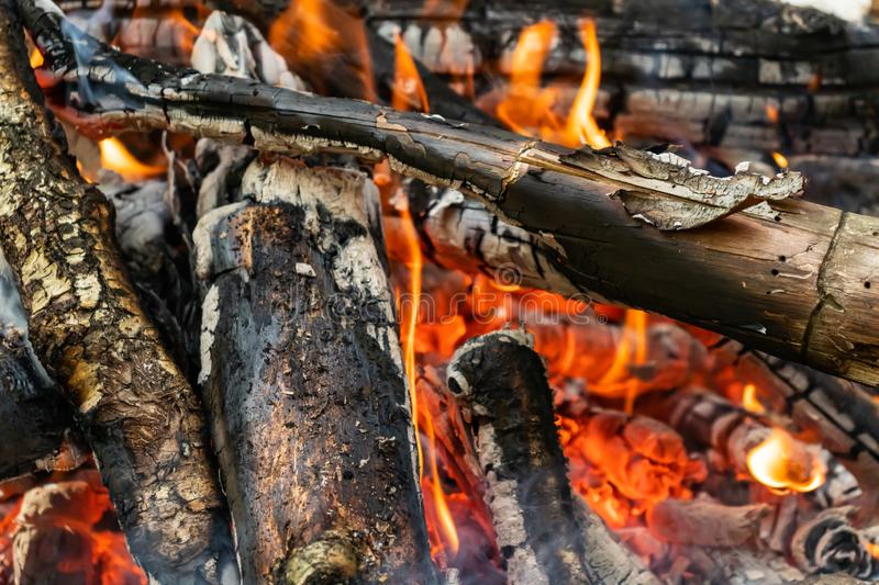 Fire flame. Smouldering coals. Close-up royalty free stock image