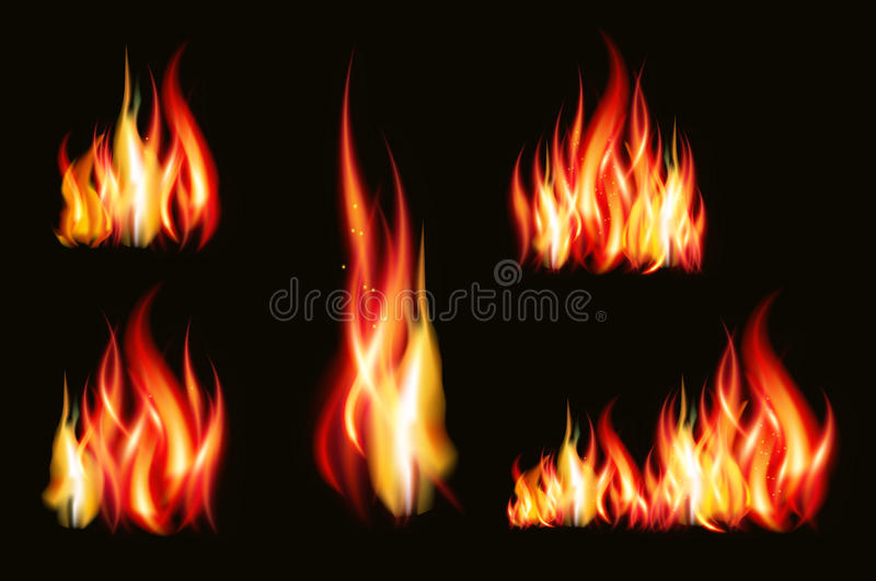 Fire flame strokes realistic isolated on black background vector illustration royalty free illustration