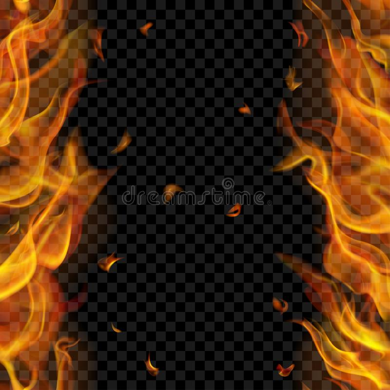 Fire flame on two sides with vertical repeat vector illustration