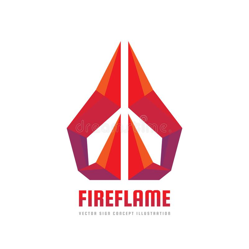 Fire flame - vector logo template concept illustration. Abstract origami creative sign. Design element royalty free illustration