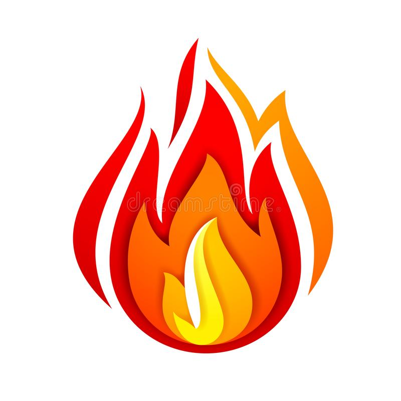 Fire flame, yellow red vector illustration