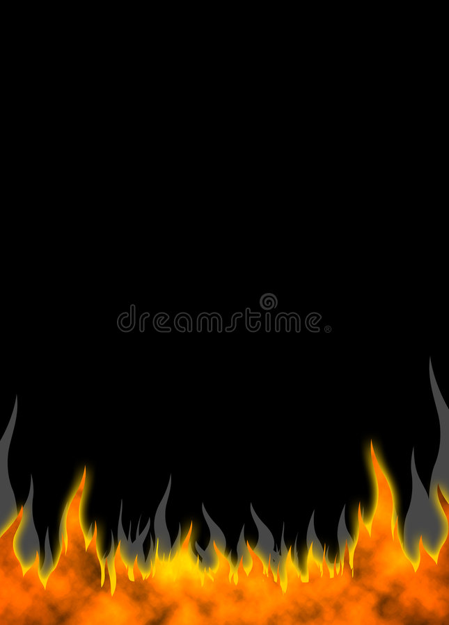 Fire Flames 01. Vertical Fire Flames background. Raster illustration stock illustration