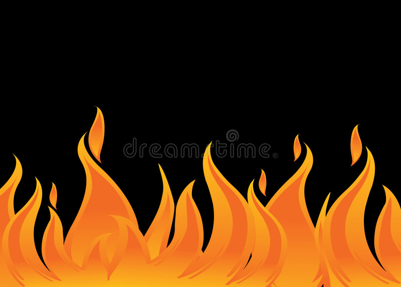 Fire and flames. Vector fire and flames on black background stock illustration