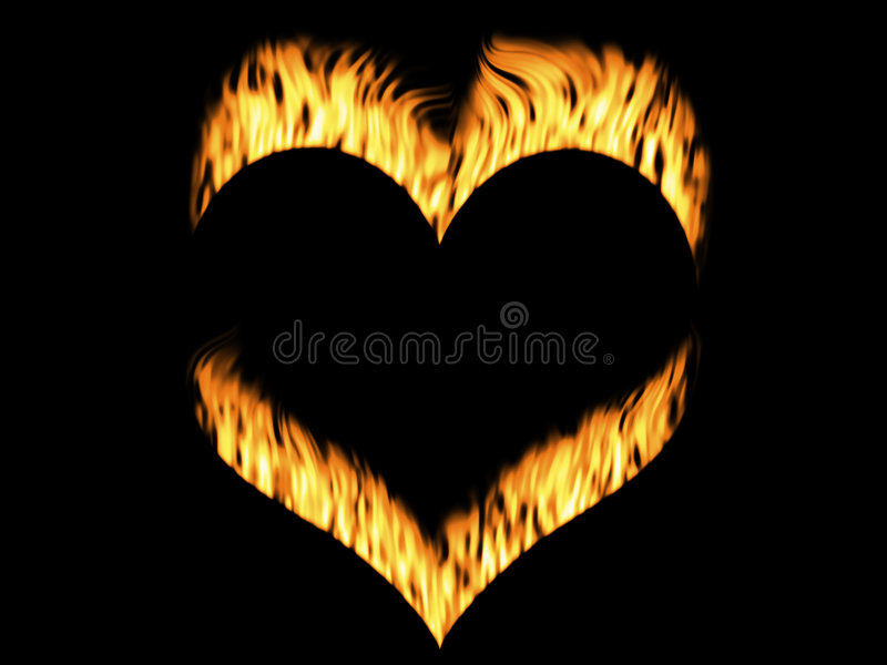 Fire flames. Abstract fire flames on heart in black background vector illustration