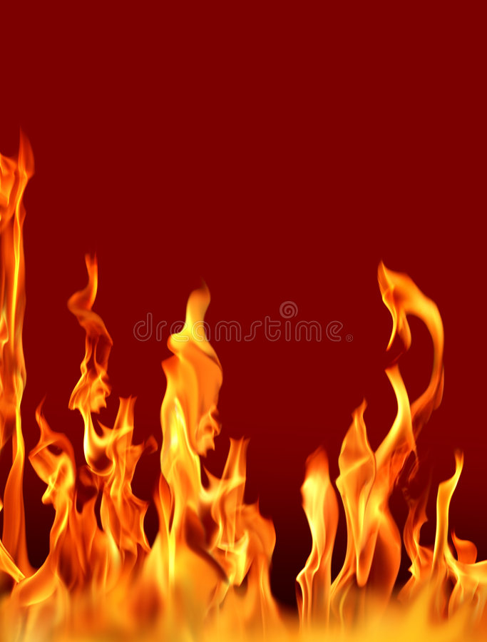 Fire flames. Actual photographs of fire flames over red royalty free stock photo