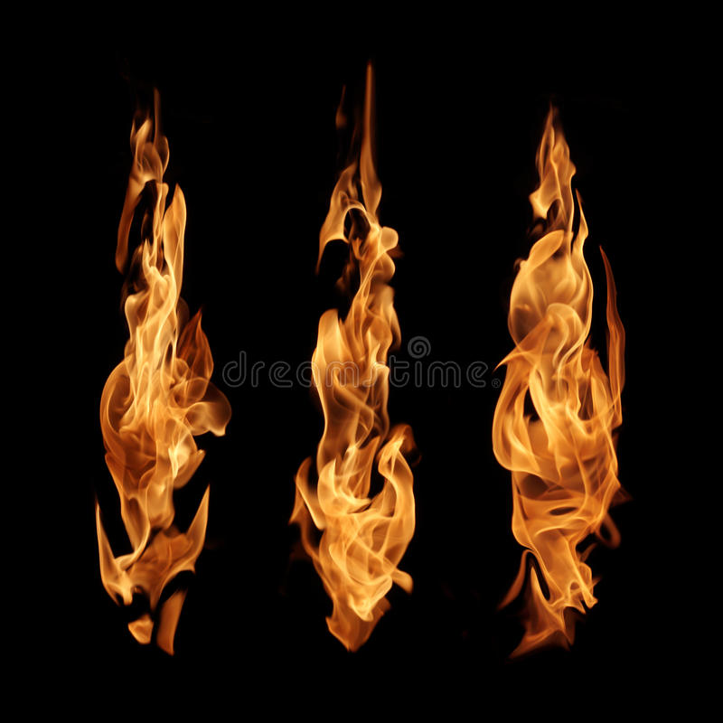 Fire flames abstract collection isolated on black background royalty free stock photo