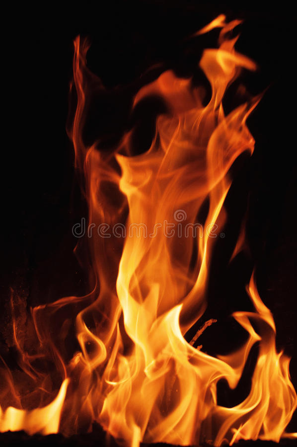 Fire flames on a black background. Blaze fire flame texture background. Close up of fire flames isolated on black background. Burn stock images