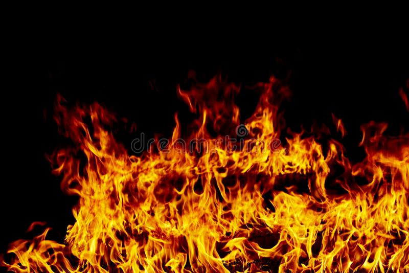 Fire flames on a black stock photography