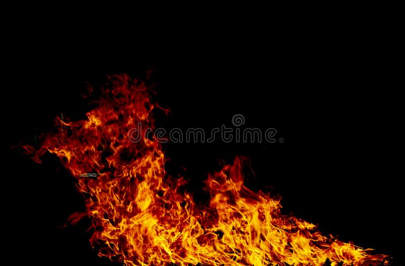 Fire flames on a black royalty free stock photos