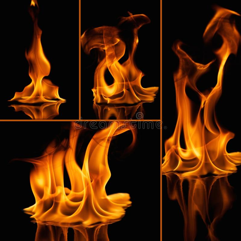 Fire flames on black. Set of fire flames on black royalty free stock image