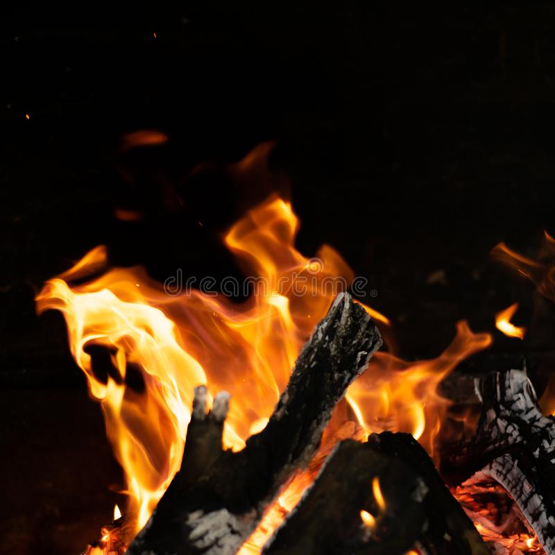 Fire Flames In Bonfire Stove Stock Photo - Image of ...