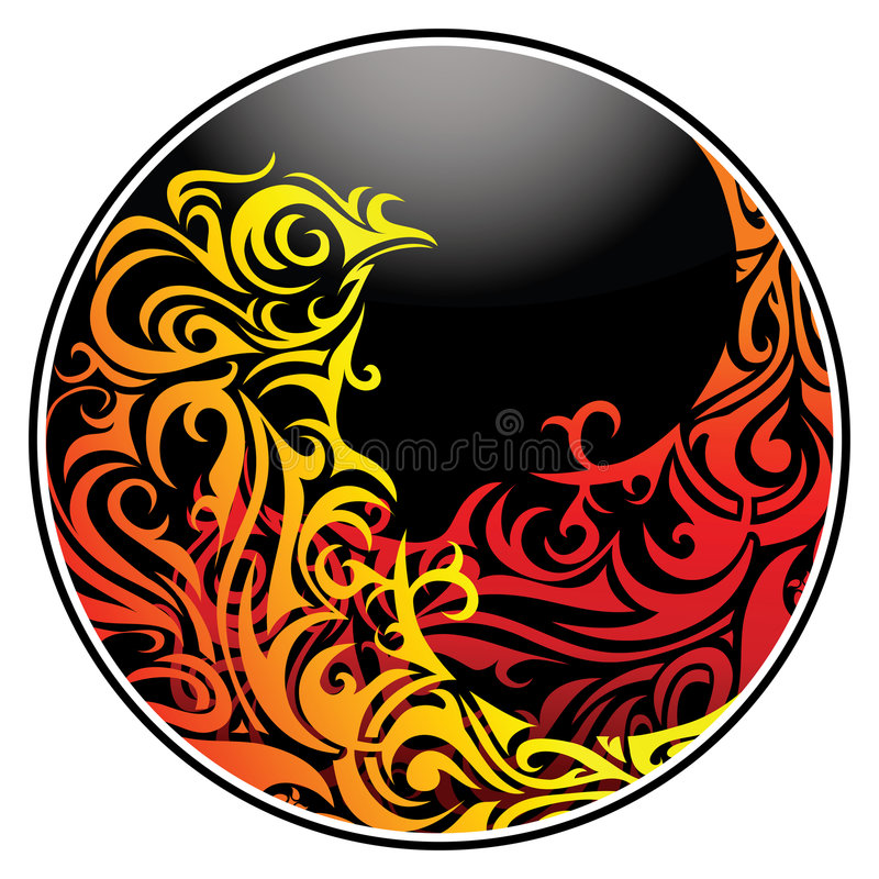 Fire-flames in circle vector illustration