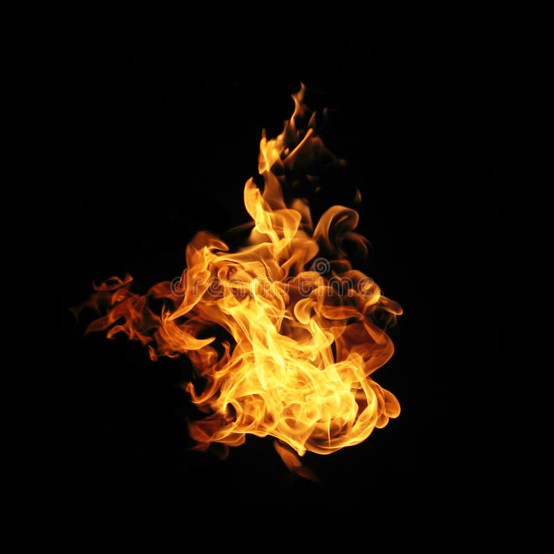 Fire flames collection isolated on black background. stock photography