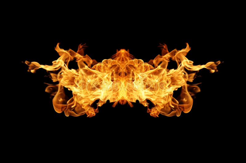 Fire flames collection isolated on black. Background stock illustration