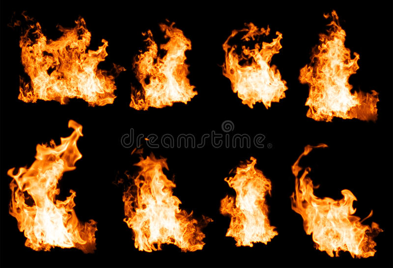Fire flames collection. stock photography
