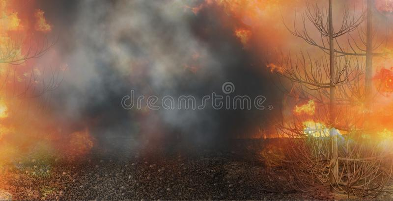 Fire flames dark background destroyed trees on a stony ground 3d-illustration. Image vector illustration