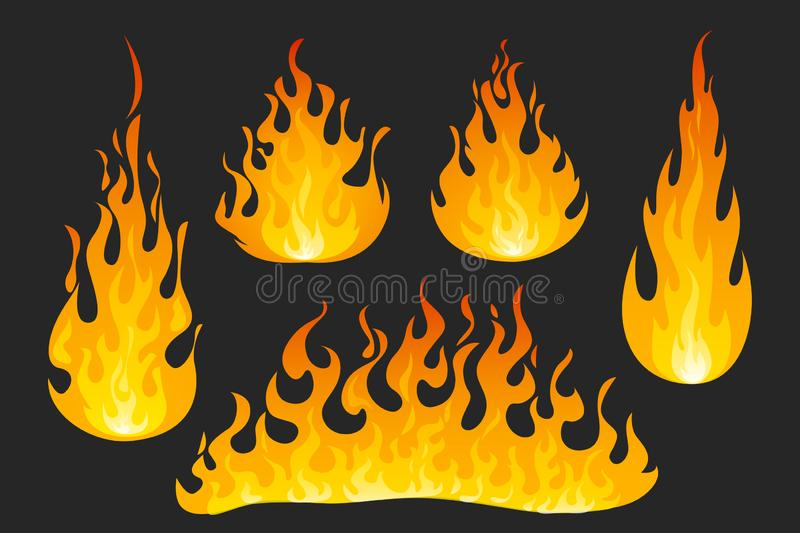 Fire flames on dark background royalty free illustration