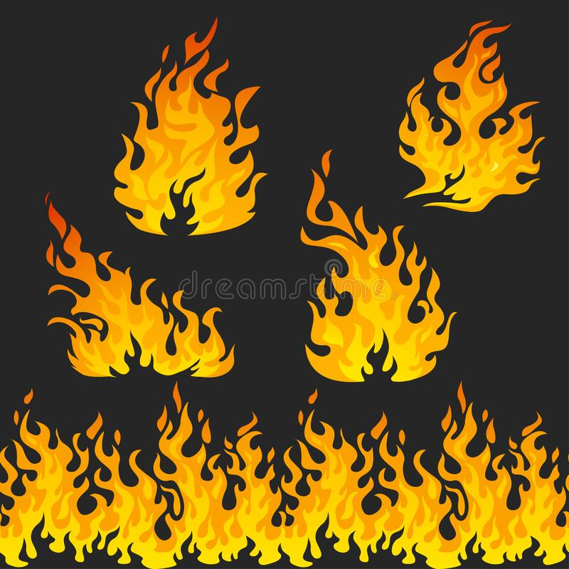 Fire flames on dark background. Seamless pattern flames royalty free illustration