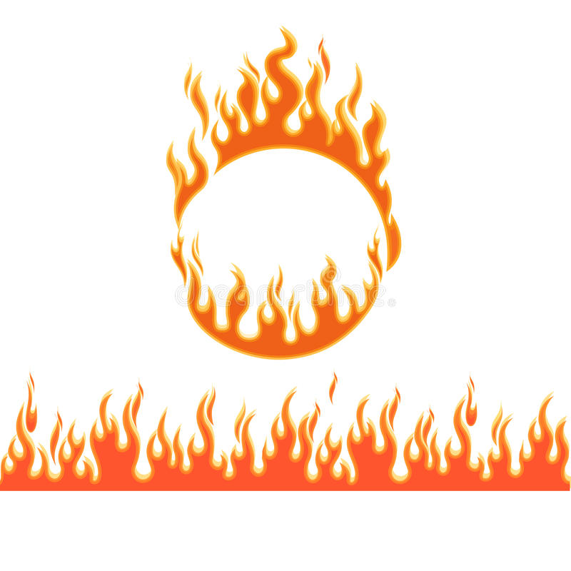 Fire flames of different shapes vector illustration