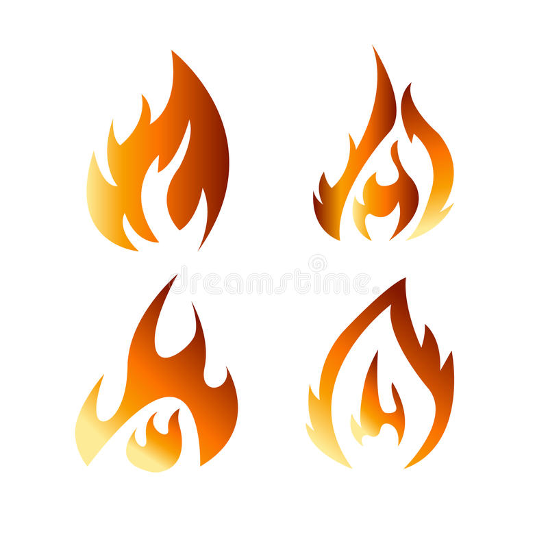 Fire flames flat icons. Set fire flames flat icons isolated on white background for danger concept or logo design vector illustration