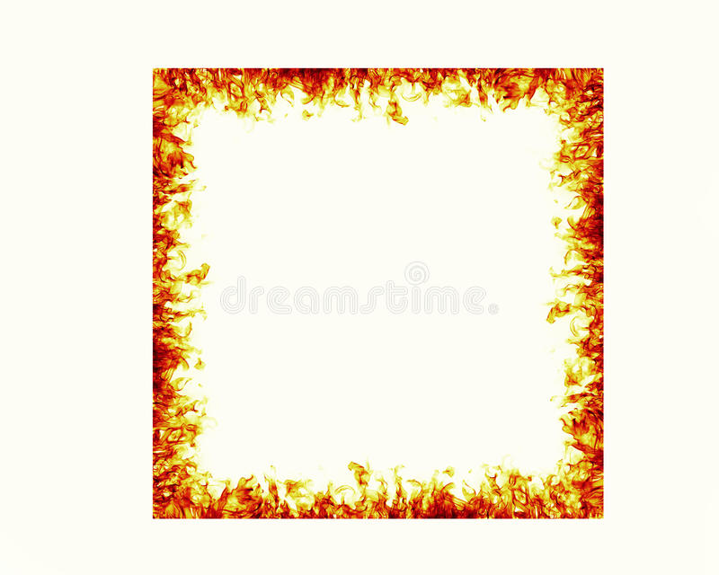 Fire flames frame. On white background royalty free illustration