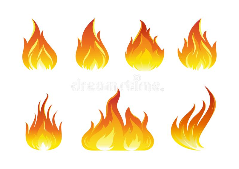 Fire flames icons. Illustration of a set of fire elements and flames royalty free illustration