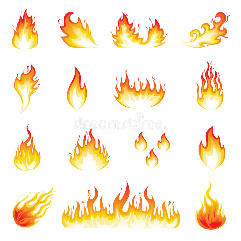 Fire Flames. Illustration of a set of fire elements and flames