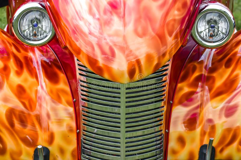 Fire Flames Painted on Old Vehicle royalty free stock images