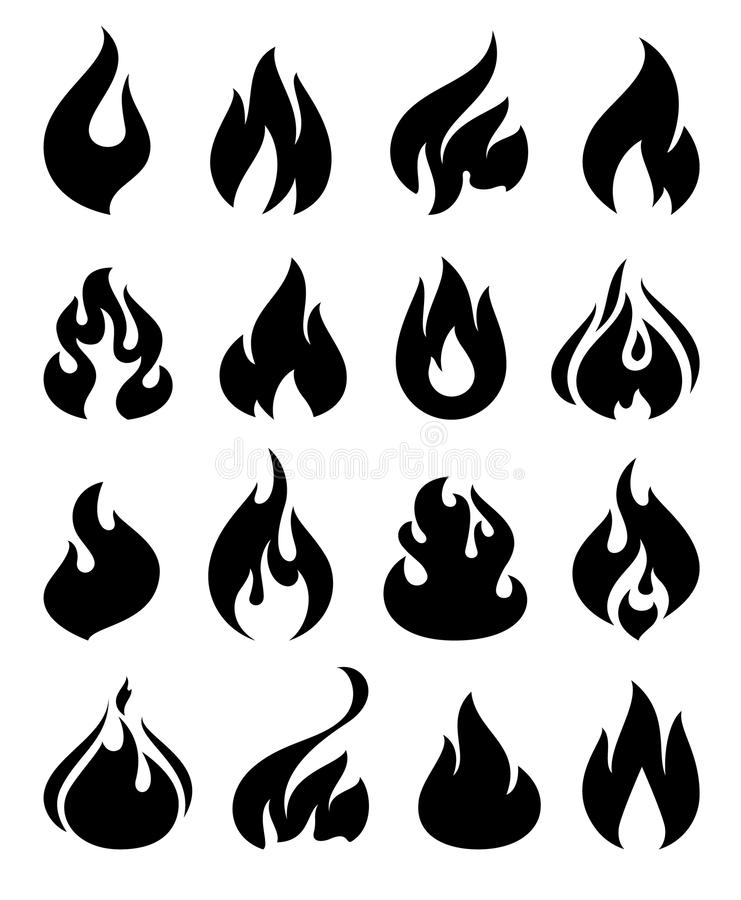 Fire flames, set icons vector illustration