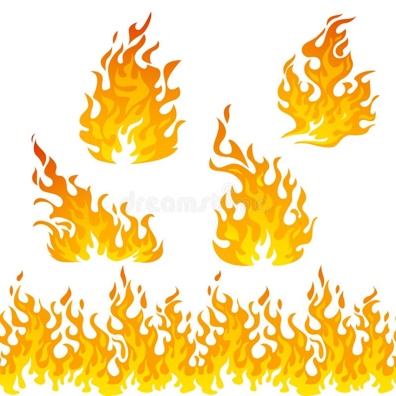 Fire flames vector set royalty free illustration
