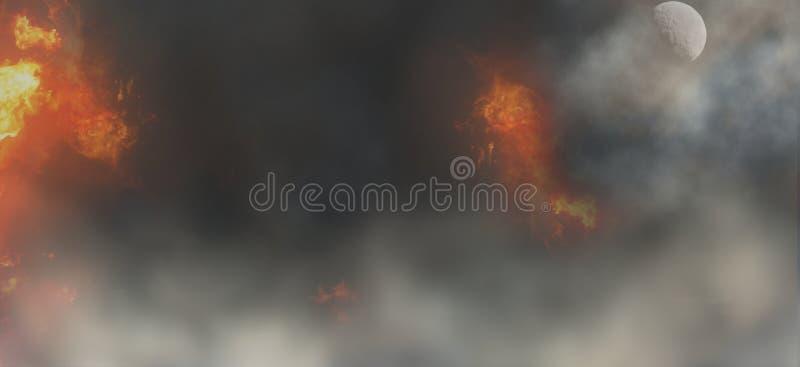 Fire flames smoke fog background 3d-illustration vector illustration