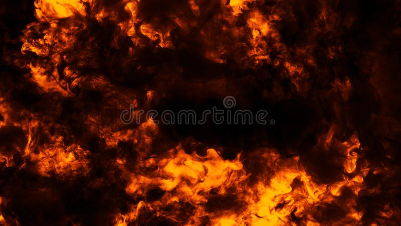 Fire flames texture on isolated black background. Perfect texture overlays for copy space. Design element. Fire flames texture on isolated black background stock image