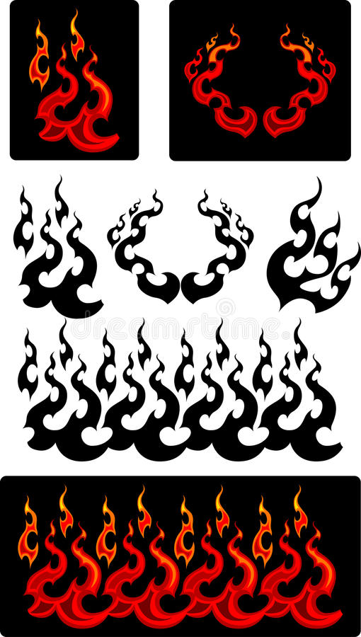Fire And Flames Vector Icons Stock Photography