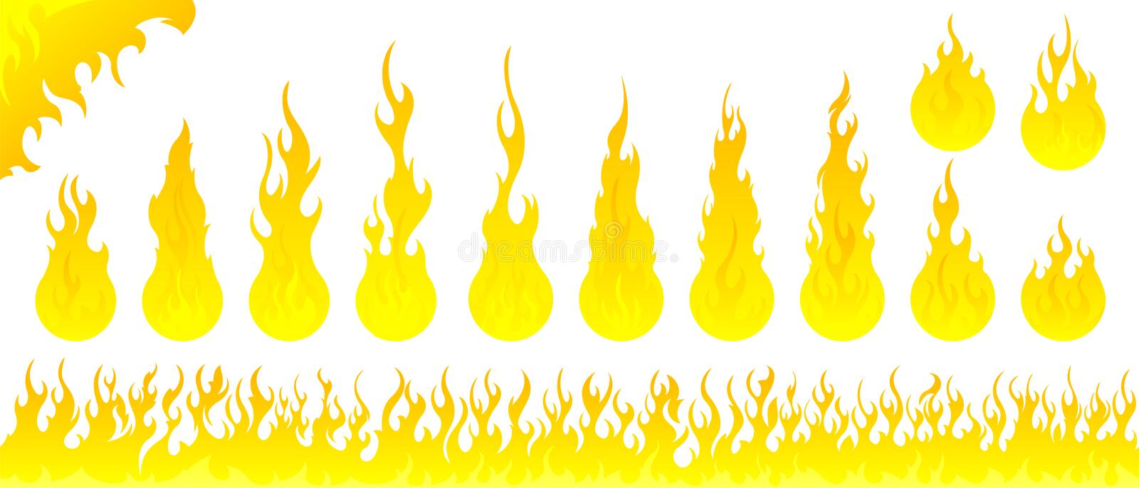 Fire flames vector set. On white background stock illustration
