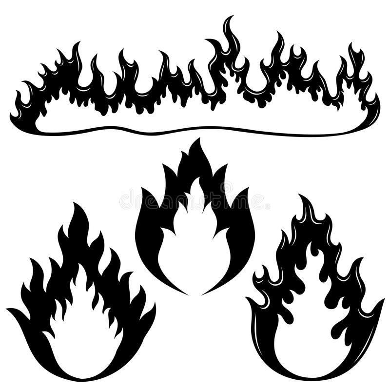 Fire flames. Vector set isolated on white background. Fire flames royalty free illustration