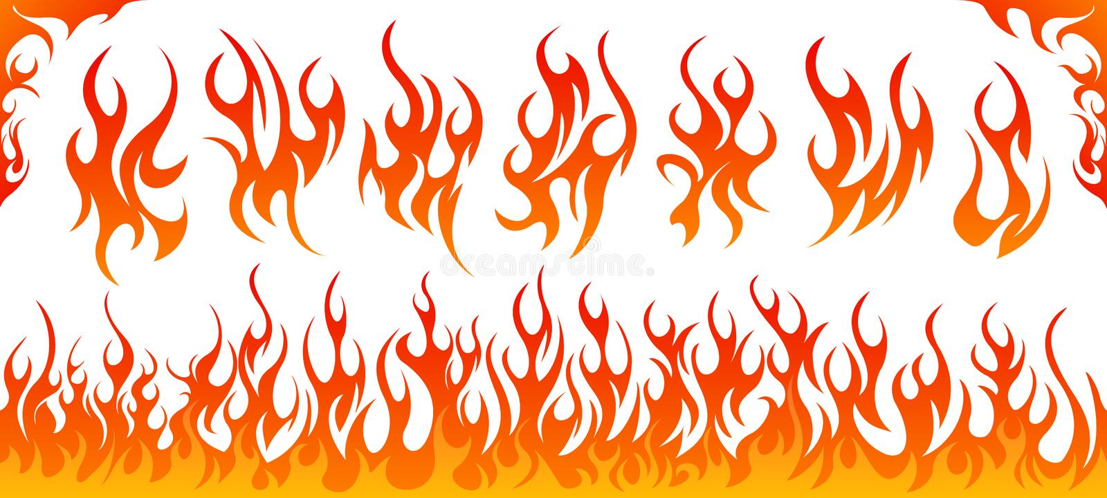 Fire flames vector set. On white background royalty free illustration