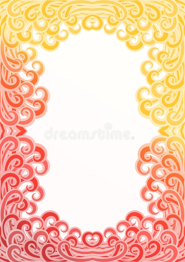 Fire Flames Waves Border Frame. Fire curled waves. Confusing fierce tubulent flames border frame with a sand tone on the top stock illustration