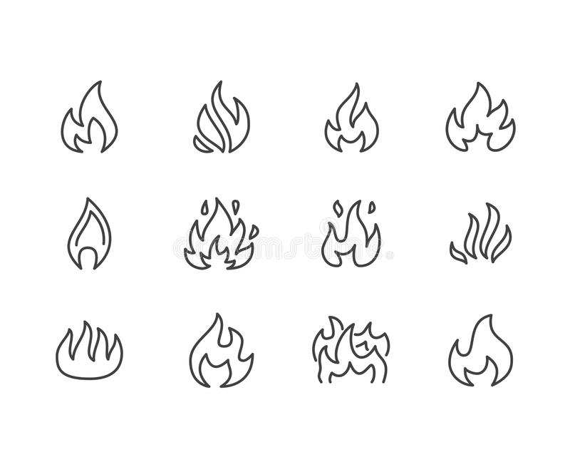 Fire flat line icons. Flame shapes silhouette, bonfire vector illustration, flammable warning sign royalty free illustration