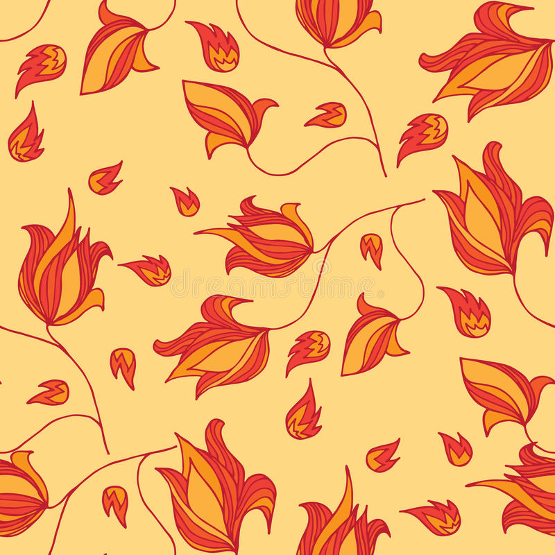 Fire Flowers Seamless Pattern stock images