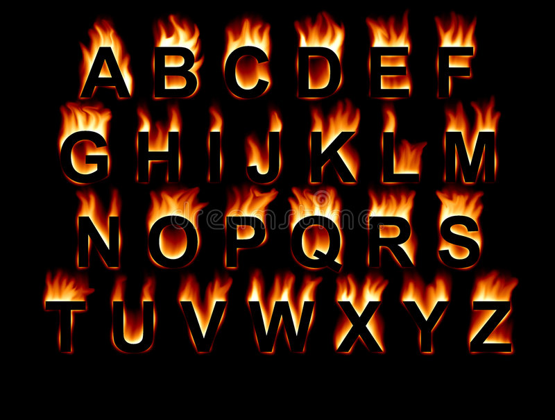Fire Font. Fiery letters on a black background