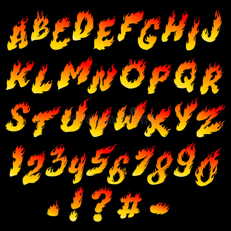 Fire font. Fiery alphabet and numbers on a black background stock illustration