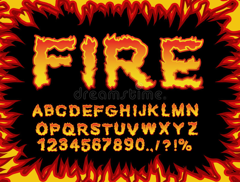 Fire font. Flame Alphabet. Fiery letters. Burning ABC. Hot typography. blaze lettring stock illustration
