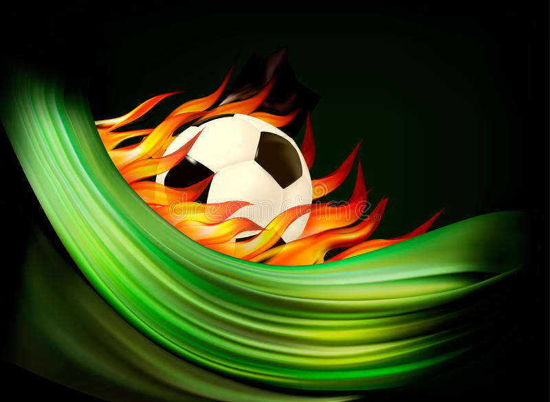 Fire Football Background With A Soccer Ball. Stock Photography