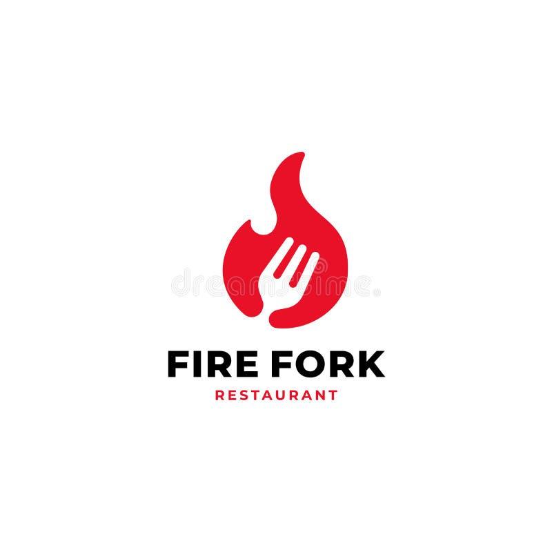 Fire fork vector logo design for fresh food restaurant brand identity concept vector illustration