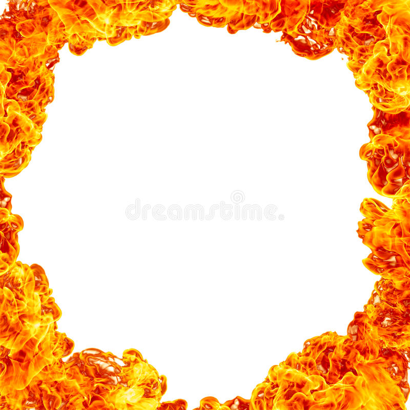 Fire Frame Background. Circle frame of fire flames over white background stock image