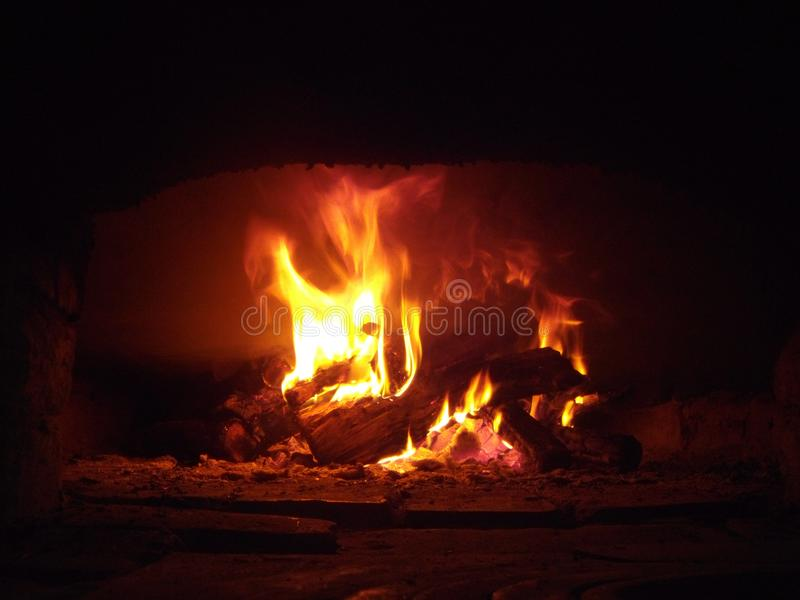 The fire in the furnace royalty free stock images